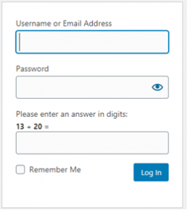 WordPress login area